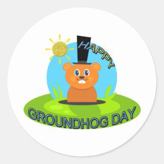 Happy Groundhog Day Sunshine Round Sticker