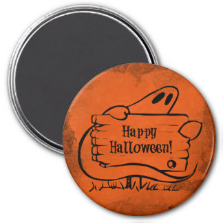 Happy Hallloween Ghost with Sign Refrigerator Magnet
