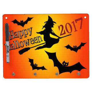 HAPPY HALLOWEEN 2017 DRY ERASE BOARD WITH KEY RING HOLDER