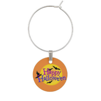 Happy Halloween Background Wine Charm