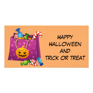 Happy Halloween bag full of candy Card