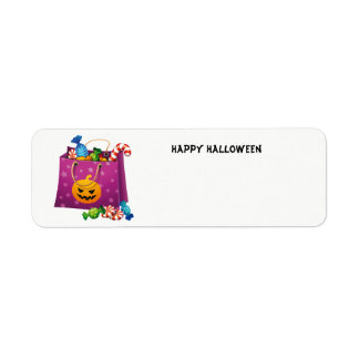 Happy Halloween bag full of candy Return Address Label