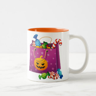 Happy Halloween bag full of candy Two-Tone Coffee Mug