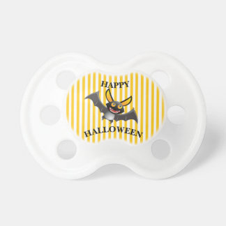 Happy Halloween Bat Orange and White Baby Pacifier