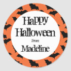 Happy Halloween Bat Pattern Kids Personalised Classic Round Sticker