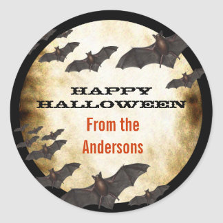 Happy Halloween Bats and Burnt Parchment Classic Round Sticker