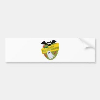 Happy Halloween Bats and Ghosts Bumper Sticker
