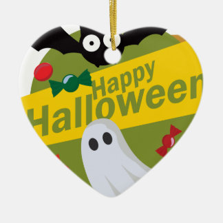 Happy Halloween Bats and Ghosts Ceramic Ornament