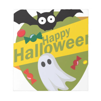 Happy Halloween Bats and Ghosts Notepad