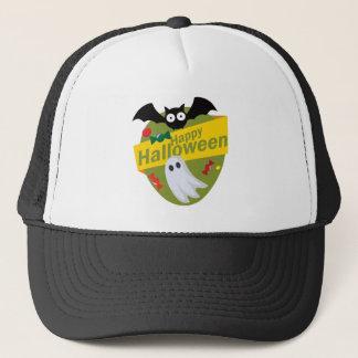 Happy Halloween Bats and Ghosts Trucker Hat
