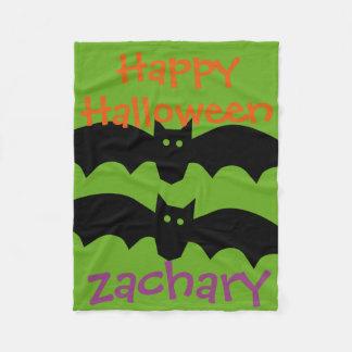 Happy Halloween Black Bats on Green Personalized Fleece Blanket