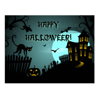Happy Halloween Black Cat Haunted House Blue Postcard
