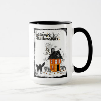 Happy Halloween Black Cat Haunted House Mug