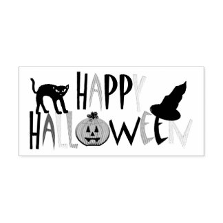 Happy Halloween Black Cat Jack O'Lanten Ink Stamp