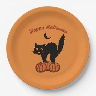 Happy Halloween - Black Cat on Orange Paper Plate