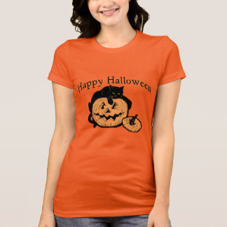 Happy Halloween Black Cat On Pumpkin T-Shirt