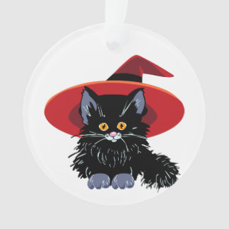 Happy Halloween Black Cat Ornament