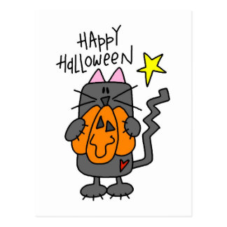 Happy Halloween Black Cat Postcards