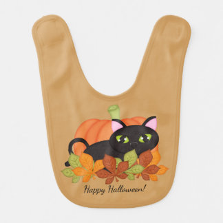 Happy Halloween - Black Cat - Pumpkin Bib