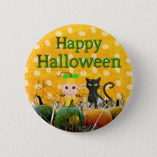 Happy Halloween Black  Cat Pumpkin Button