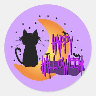 Happy Halloween Black Cat Round Sticker