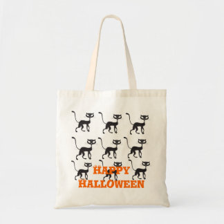Happy Halloween Black Cat Tote Bags
