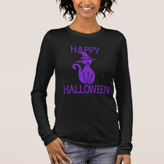 Happy Halloween black cat witch Long Sleeve T-Shirt