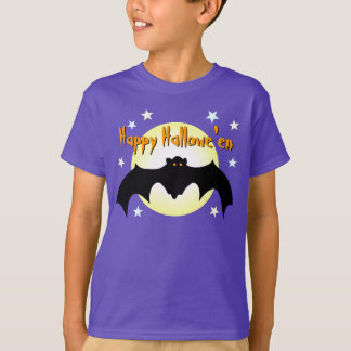 Happy Hallowe'en Black Flying Bat Orange Eyes Moon T-Shirt