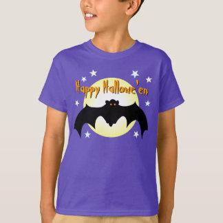 Happy Hallowe'en Black Flying Bat Orange Eyes Moon Tee Shirts