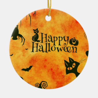 Happy Halloween Black Kitty Ornament Round