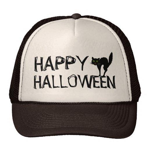 Happy Halloween Black Scaredy Cat Trucker Hats