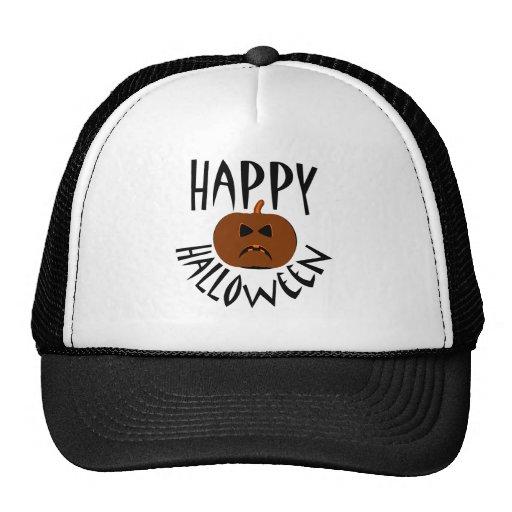 Happy Halloween Black Text Trucker Hats