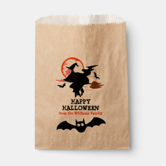 Happy Halloween Black Witch & Bats Personalised Favour Bags