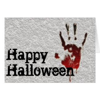 Happy Halloween Bloody Handprint Card