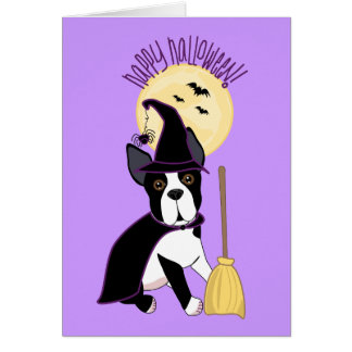 Happy Halloween Boston Terrier Witch Card
