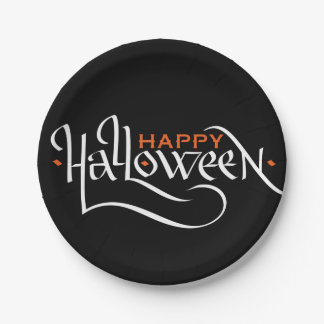HAPPY HALLOWEEN CALLIGRAPHY | PARTY PAPER PLATES