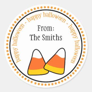 Happy Halloween Candy Corn Dot Circle Labels Round Sticker