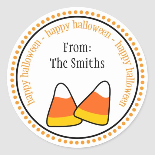 Happy Halloween Candy Corn Dot Circle Labels Round Stickers