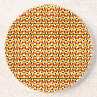 Happy Halloween Candy Corn Pattern Drink Coasters