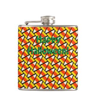 Happy Halloween Candy Corn Pattern Hip Flask