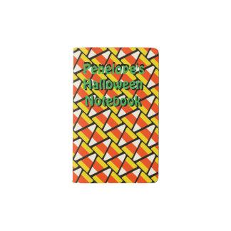 Happy Halloween Candy Corn Pattern Pocket Moleskine Notebook
