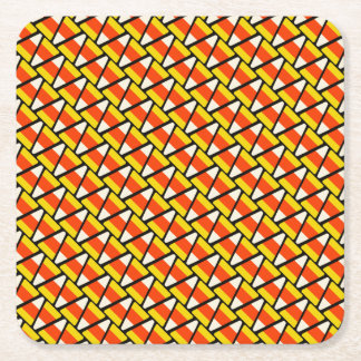 Happy Halloween Candy Corn Pattern Square Paper Coaster