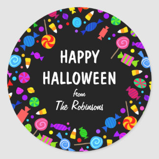 Happy Halloween candy corn trick or treat sticker