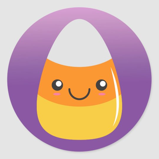 Happy Halloween CandyCorn Emoji Purple Stickers