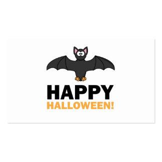Happy Halloween Cartoon Bat Business Card Template