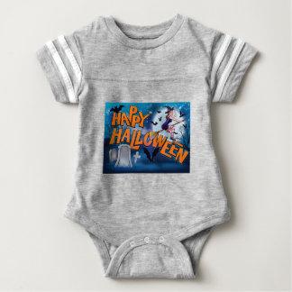 Happy Halloween Cartoon Witch Sign Baby Bodysuit