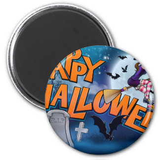 Happy Halloween Cartoon Witch Sign Magnet