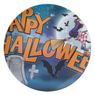 Happy Halloween Cartoon Witch Sign Plate