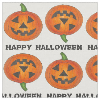 Happy Halloween Carved Pumpkin Pumpkins Fabric