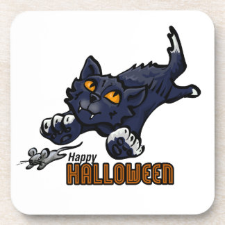 Happy Halloween Cat and Mouse Beverage Coaster